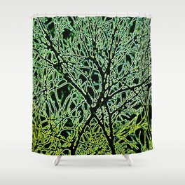 Tangled Tree Branches in Leaf and Lime Green Shower Curtain