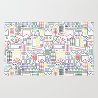 basquiat Area & Throw Rugs featuring Basquiat & Volpi inspired pattern  by alicemnf