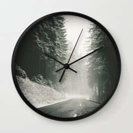 Forest Road In Winter Wall Clock