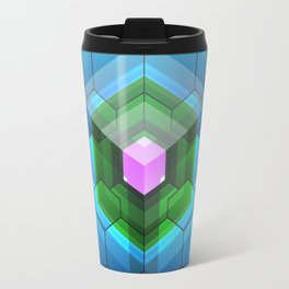 Contemporary abstract honeycomb, blue and green graphic grid with geometric shapes Travel Mug
