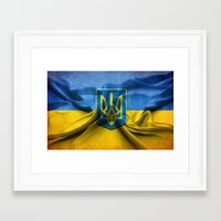 ukraine Framed Art Prints featuring Ukraine Flag by iCherya