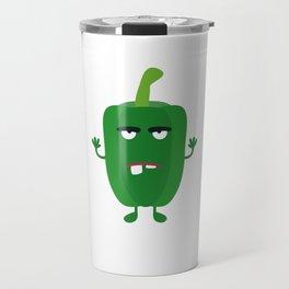 Green angry Capsicum Travel Mug