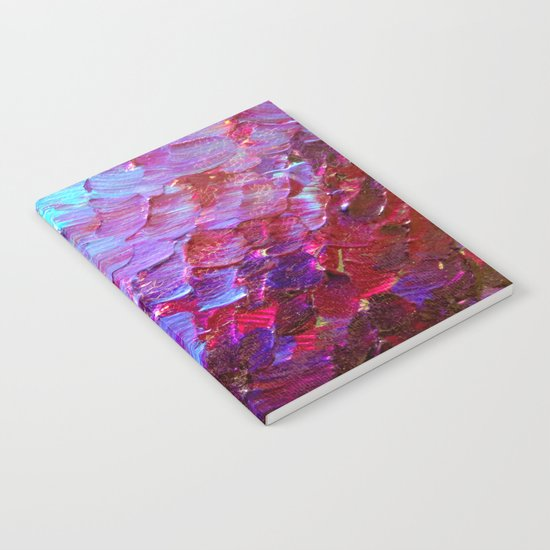 MERMAID SCALES - Colorful Ombre Abstract Acrylic Impasto Painting Violet Purple Plum Ocean Waves Art Notebook