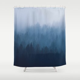Misty Turquoise Blue Pine Forest Foggy Ombre Monochrome Trees Landscape Shower Curtain