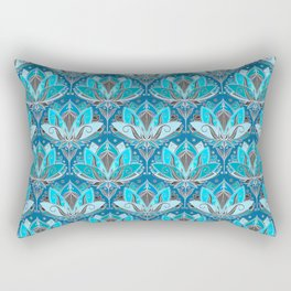Art Deco Lotus Rising - black, teal & turquoise pattern Rectangular Pillow