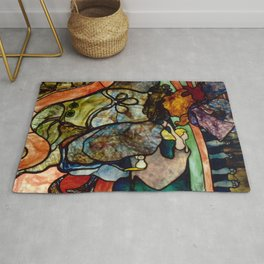 """Henri de Toulouse-Lautrec """"Papa Chrysanthème at the New Circus"""" stained glass Rug"""