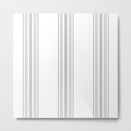 Farmhouse Ticking Stripes in Gray on White Metal Print