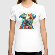 Colorful Dog Pit Bull Art - Happy - By Sharon Cummings MEDIUM White Womens Fitted Tee