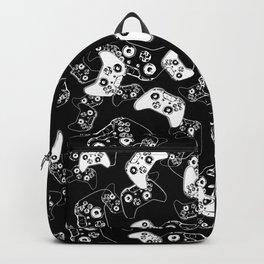 Video Game White on Black Backpack