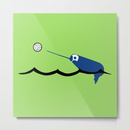 Water Polo Narwhal Metal Print