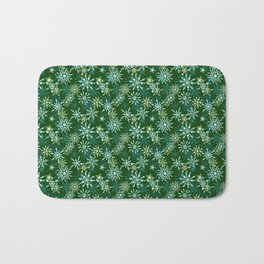 Festive Snowflakes in Green and Gold Bath Mat