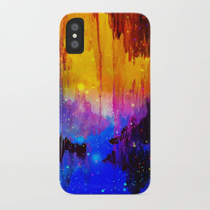 CASTLES IN THE MIST Magical Abstract Acrylic Painting Mixed Media Fantasy Cosmic Colorful Galaxy  iPhone Case