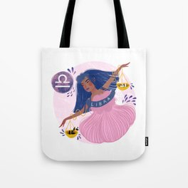 Libra Zodiac Illustration Tote Bag
