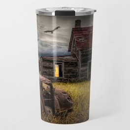 The Death of the Small American Farm with Abandoned Truck and Farm House Travel Mug