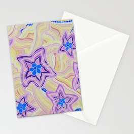 Some Purple and Blue Flower Power Stationery Cards