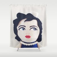 rockabilly Shower Curtains featuring Rockabilly Sailorgirl by A Little Vintage