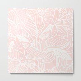 Pink Coral Floral Garden Metal Print