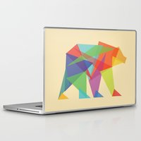 rainbow Laptop & iPad Skins featuring Fractal Geometric bear by Picomodi