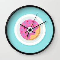 donut Wall Clocks featuring Donut by Marko Stupic