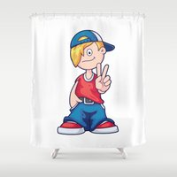 hip hop Shower Curtains featuring Hip Hop Cartoon Boy by pixaroma