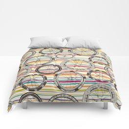 bike wheels stripe Comforters