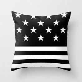 US Flag (Black/White) Throw Pillow