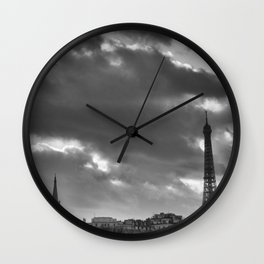 Eiffel tower under the clouds Wall Clock