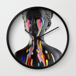 The Girl With Stars In Her Eyes (On White) Wall Clock