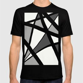 Geometric Line Abstract - Black Gray White T-Shirt