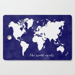 The world awaits in navy blue Cutting Board