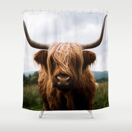 Scottish Highland Cattle in Scotland Portrait II Shower Curtain