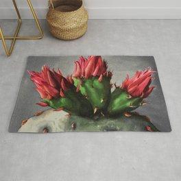 Blooming Opuntia Cactus Flower Rug