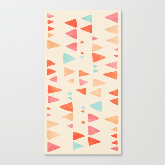 Back & Forth - triangle abstract pattern in peach, aqua & cream Canvas Print