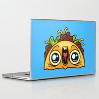 taco Laptop & iPad Skins featuring Excited Taco by Artistic Dyslexia
