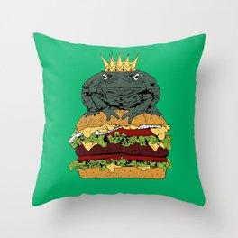 King of Burgers Green Throw Pillow