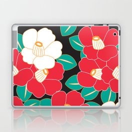 Japanese Style Camellia - Red and Black Laptop & iPad Skin