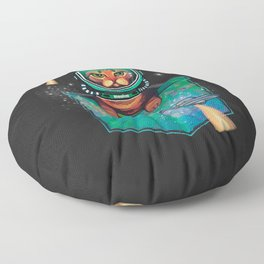 Grumpy bengal space cat in pocket out of this world Floor Pillow