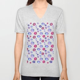 Watercolor blue & purple blots Unisex V-Neck