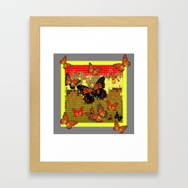 Abstracted Black & Orange Monarch Butterflies Red Framed Art Print
