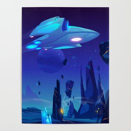 Synthwave Space: Blue planet and Moon Poster