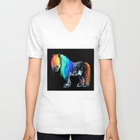 pony V-neck T-shirts featuring Rainbow Pony by Crystal Cook Art