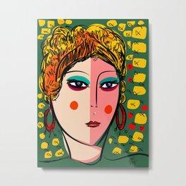 Green Portrait French Girl Art Metal Print