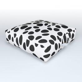 Warped Polka Dots. Black. Outdoor Floor Cushion
