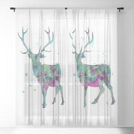 Deer Watercolor Painting Sheer Curtain