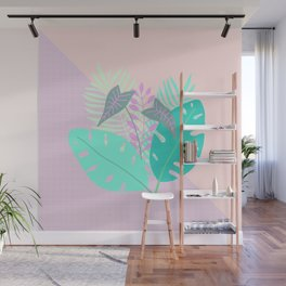 Modern tropical leaves print with monstera Wall Mural