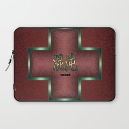 """""""Chaos"""" Chinese Calligraphy on Celtic Cross Laptop Sleeve"""