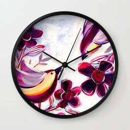 Finches in the Flowers II Wall Clock