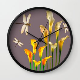 GOLD CALLA LILIES & DRAGONFLIES ON GREY Wall Clock
