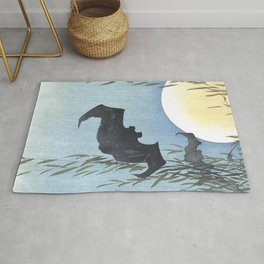 Bats, Willow Tree and The Full Moon - Vintage Japanese Woodblock Print Art Rug