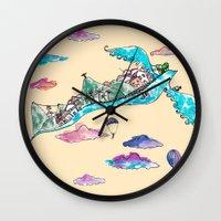 rio de janeiro Wall Clocks featuring Flying Rio de Janeiro by Marina Papi